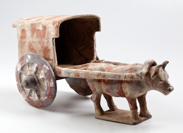 The Greatest Discovery. The Phenomenon of Agriculture in 100 Objects. Funerary figurine, a yoked animal, ancient China (206 BCE - 220 CE), National Museum, Náprstek Museum of Asian, African and Native American Cultures